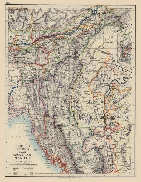 BRITISH INDIA. North Burma Assam Manipur. Railways. JOHNSTON 1901 old map