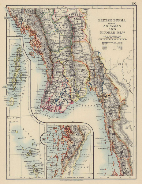 BRITISH INDIA EAST South Burma Andaman Nicobar Islands. JOHNSTON 1901 old map