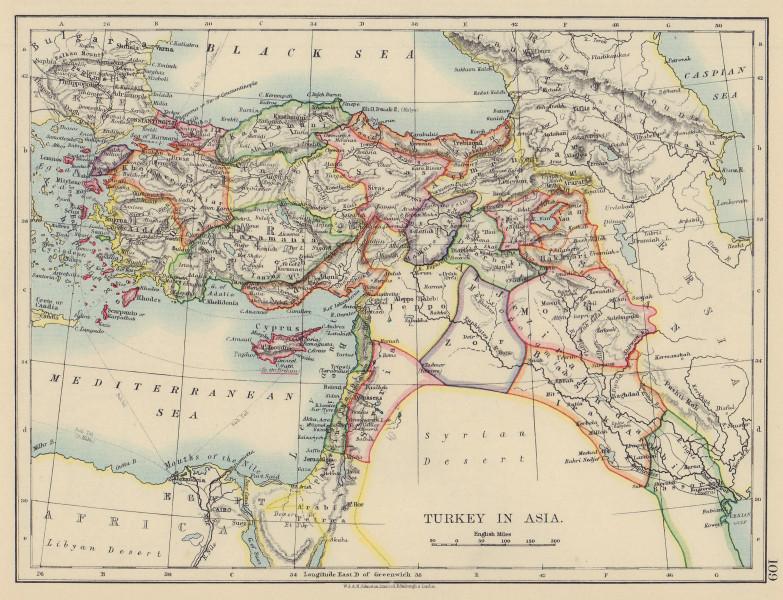 OTTOMAN TURKEY IN ASIA. Cyprus Levant Mesopotamia Palestine. JOHNSTON 1901 map