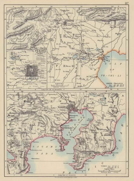 EAST ASIA. Peking Beijing and Tokyo Environs. JOHNSTON 1901 old antique map