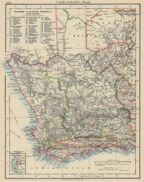 CAPE COLONY. Electoral divisions. South Africa. Walvis Bay. JOHNSTON 1901 map
