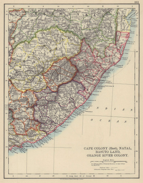 COLONIAL EASTERN CAPE. Cape Colony Natal Lesotho Orange River Colony 1901 map