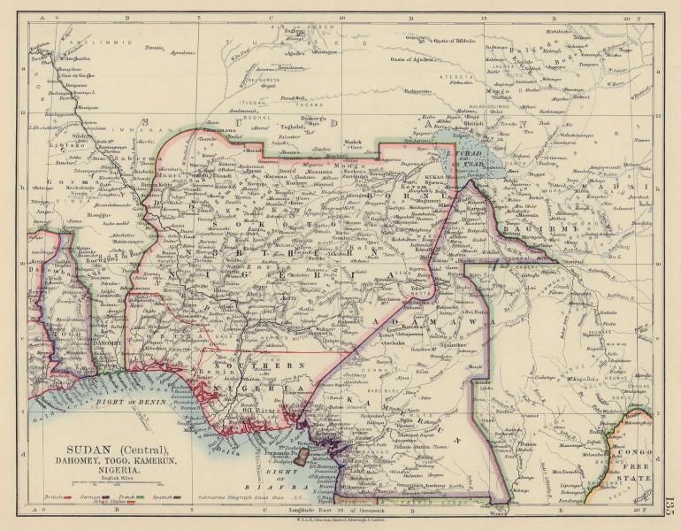 "COLONIAL NIGERIA & CAMEROON. ""Sudan"" Dahomey (Benin) Togo, Kamerun 1901 map"