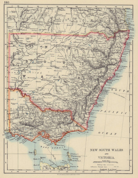 NEW SOUTH WALES & VICTORIA. Shows railways Telegraph cables. Australia 1901 map