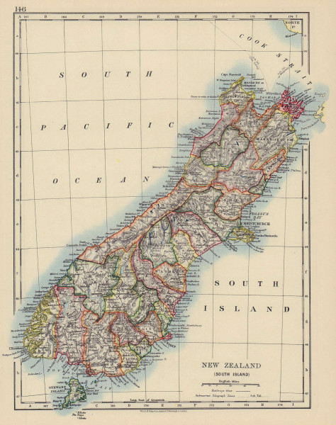 SOUTH ISLAND NEW ZEALAND. Showing counties. Telegraph cables. JOHNSTON 1901 map