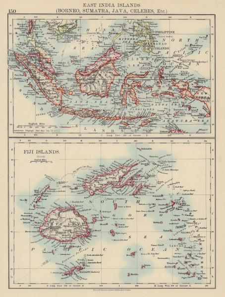 EAST INDIES & FIJI. Borneo Sumatra Java Celebes Malaya Philippines 1901 map