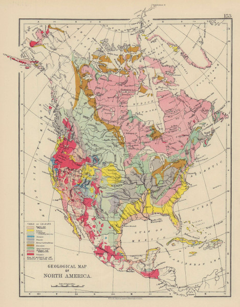 NORTH AMERICA GEOLOGICAL Volcanic Tertiary Jurassic Cretaceous JOHNSTON 1901 map