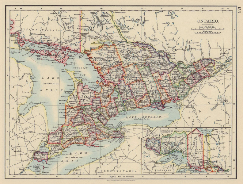ONTARIO. Showing counties. British North America. Canada. JOHNSTON 1901 map