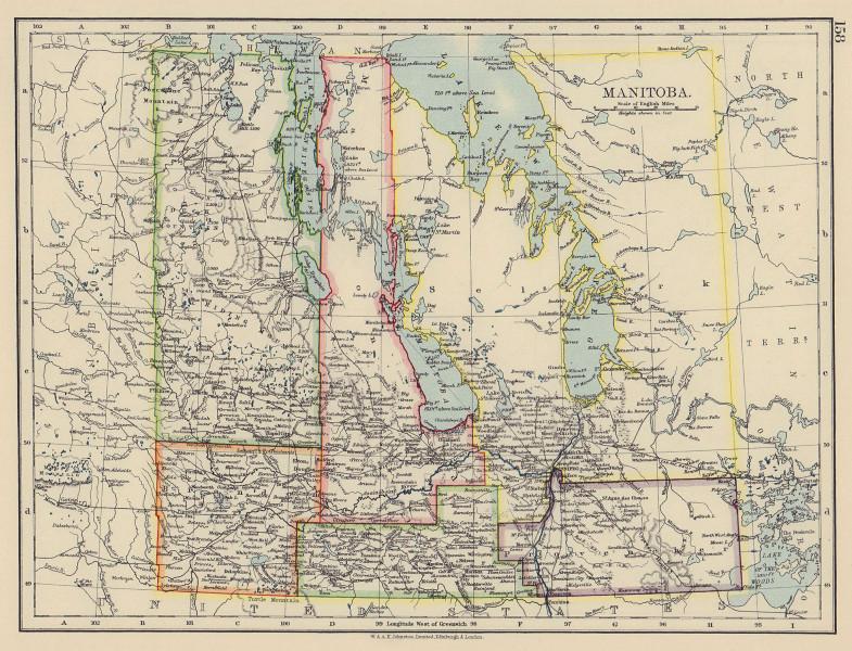 "MANITOBA. Pre northward expansion. ""postage stamp province"". Railroads 1901 map"