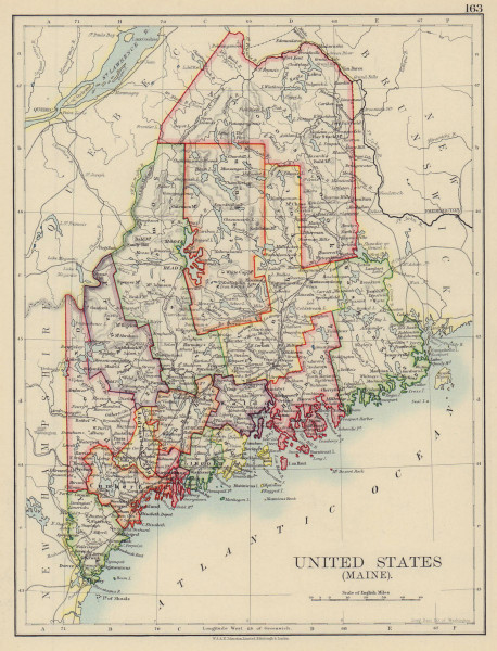 MAINE. State map showing counties & railroads. JOHNSTON 1901 old antique