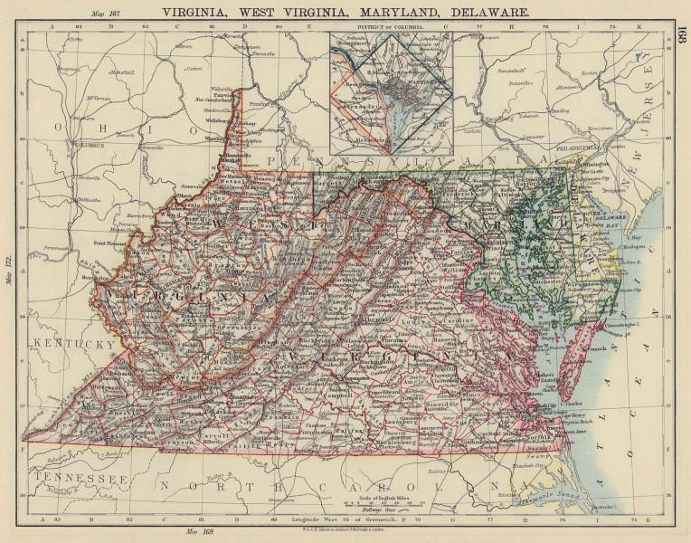 US MID ATLANTIC STATES VA West Virginia Maryland Delaware Washington DC 1901 map