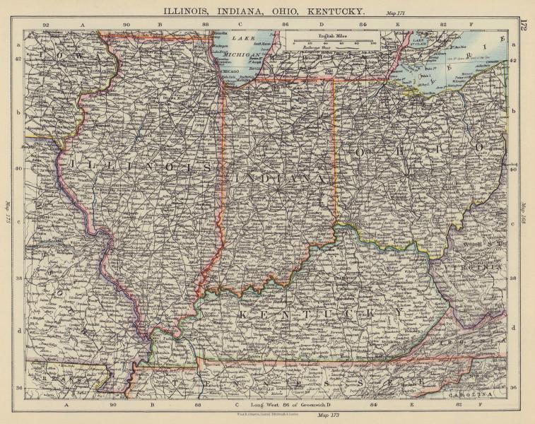 USA MIDWEST. Illinois Indiana Ohio Kentucky. Railroads. JOHNSTON 1901 old map