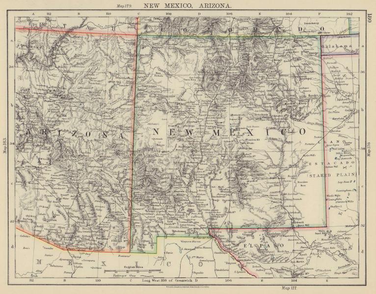 USA MOUNTAIN STATES. New Mexico & Arizona. Railroads. JOHNSTON 1901 old map