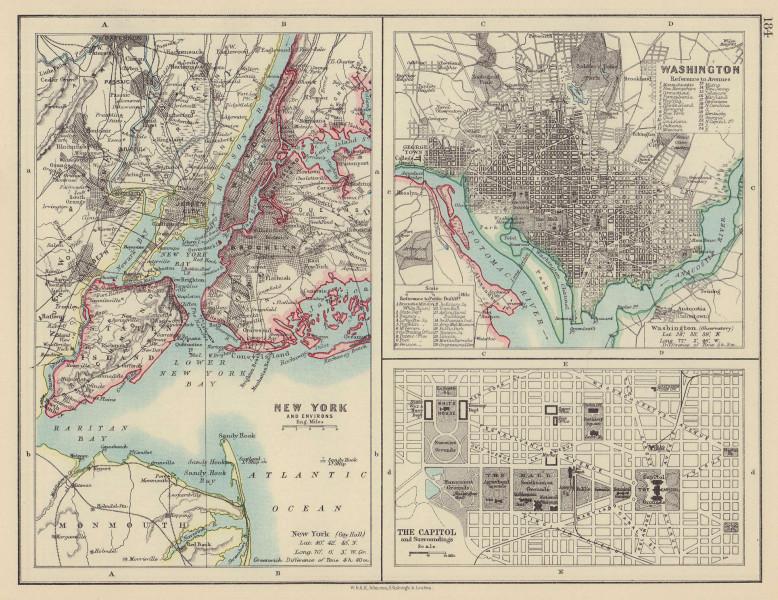 USA CITIES. New York City. Washington DC. The Capitol. JOHNSTON 1901 old map