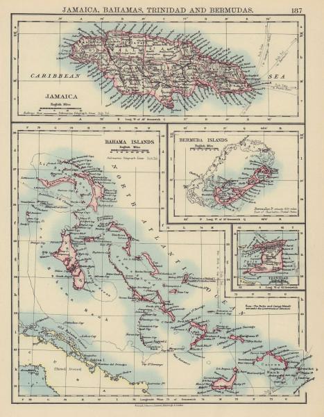 CARIBBEAN/ATLANTIC ISLANDS. Jamaica Bermuda Bahamas Trinidad. JOHNSTON 1901 map