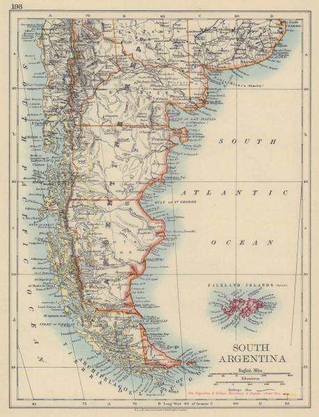 PATAGONIA Argentina/Chile Andes Cordillera disputed border. JOHNSTON 1901 map