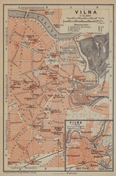 Vilnius town/city plan miestas miesto zemelapis planas. Wilna Lithuania 1914 map