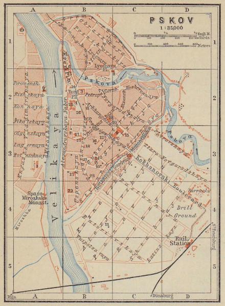 Pskov town/city plan. Russia. Pleskau Pskow. BAEDEKER 1914 old antique map