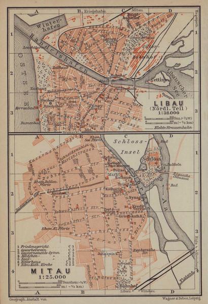 Liepaja (Northern part) / Jelgava town/city plan pilsetas karte. Latvia 1914 map