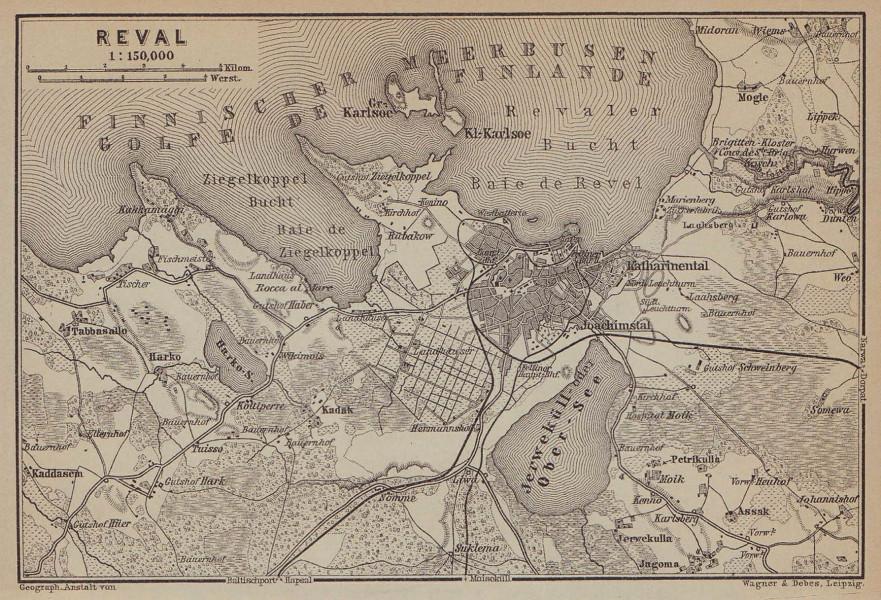 Tallinn environs kaart kava. Estonia. Reval. BAEDEKER 1914 old antique map
