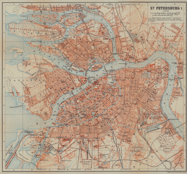 St. Petersburg I town/city plan. Russia. BAEDEKER 1914 old antique map chart