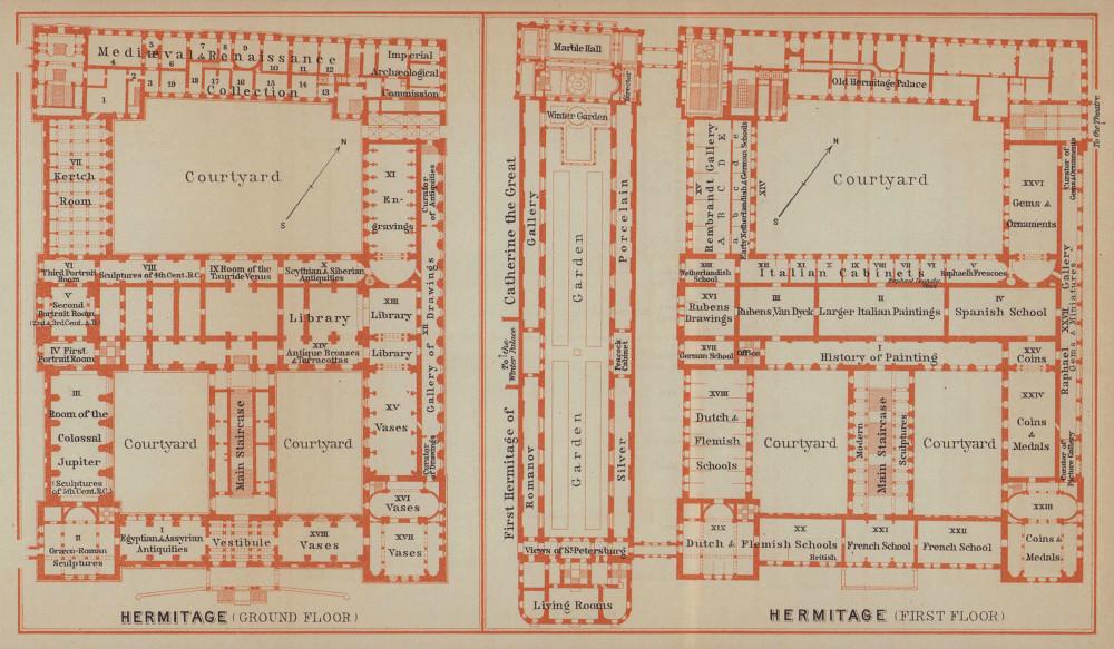 Hermitage, St Petersburg. Ground/floor plan. Russia. BAEDEKER 1914 old map