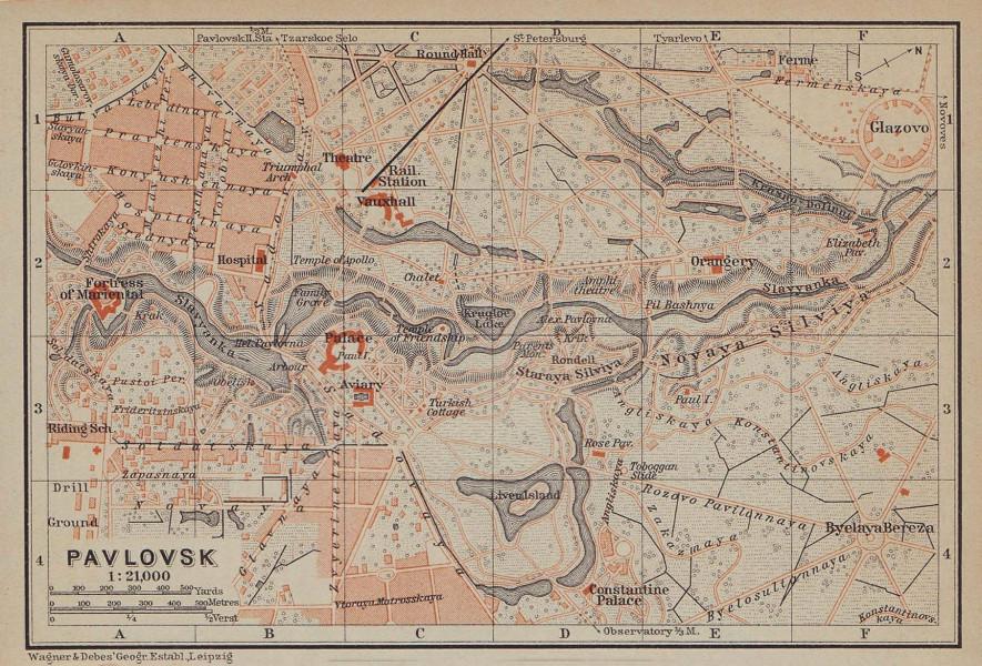 Pavlovsk, Pushkinsky District, St Petersburg. Russia. BAEDEKER 1914 old map