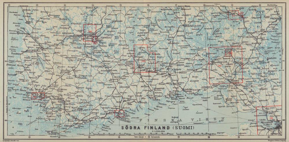 Southern Finland coast. Helsinki Viborg St Petersburg. BAEDEKER 1914 old map
