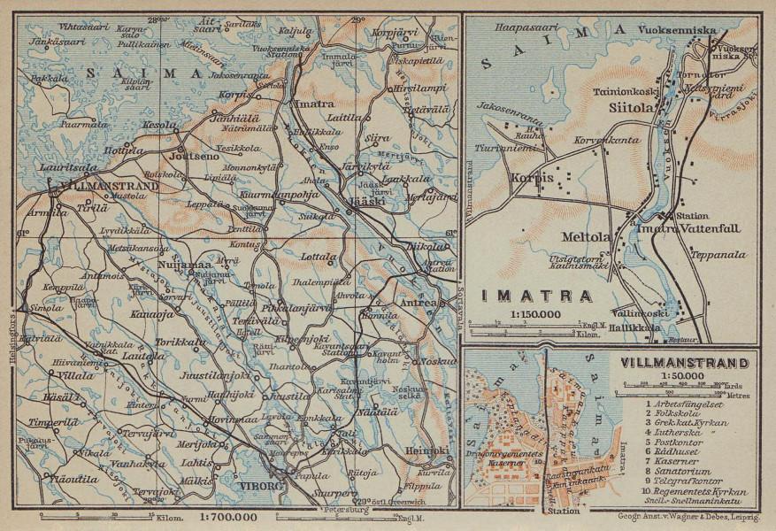 Imatra / Lappeenranta (Villmanstrand). Finland / Russia. BAEDEKER 1914 old map