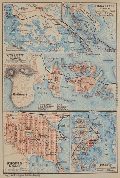 Punkaharju. Savonlinna (Nyslott). Kuopio town/city plan kartta. Finland 1914 map
