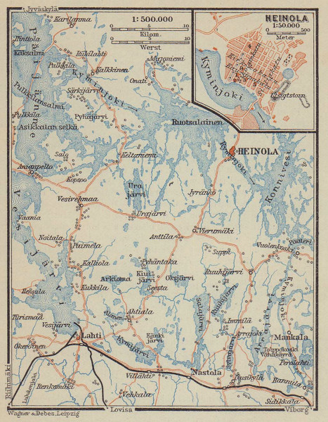 Heinola & Päijänne Tavastia, Finland. BAEDEKER 1914 old antique map plan chart