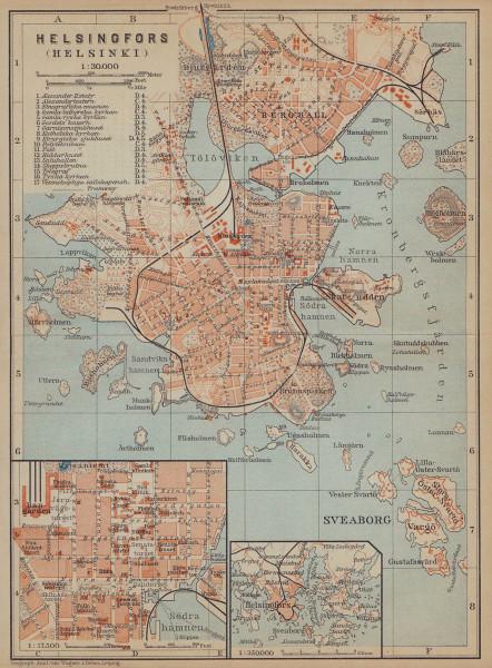 Helsinki (Helsingfors) town/city plan kaupunki kartta Finland. BAEDEKER 1914 map