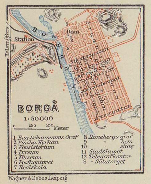 Porvoo (Borgå / Borga) town / city plan. Finland. VERY SMALL. BAEDEKER 1914 map