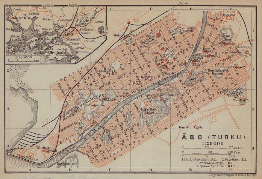 Turku (Åbo/Abo) town/city plan kaupunki kartta suunnitelma. Finland 1914 map