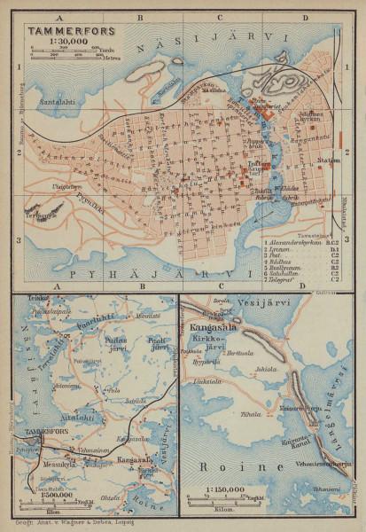 Tampere/Tammerfors town/city plan kaupunki kartta suunnitelma. Finland 1914 map