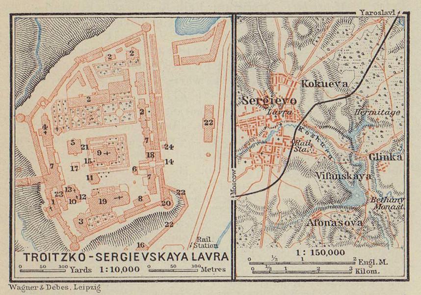Trinity Lavra of St. Sergius Monastery Sergiyev Posad Russia VERY SMALL 1914 map