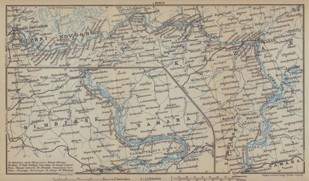 Volga River. Nizhny Novgorod - Kazan - Simbirsk - Samara. Russia 1914 old map