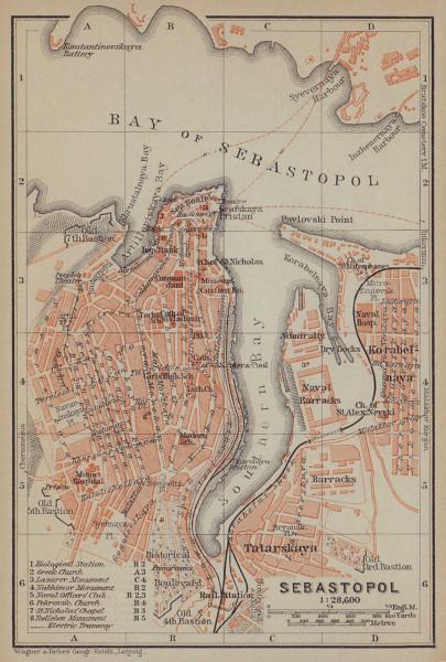 Sevastopol/Sebastopol town/city plan. Ukraine. Ssewastopol. BAEDEKER 1914 map