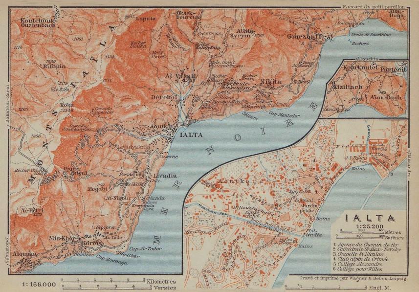 Yalta town/city plan. Ukraine. Jalta. BAEDEKER 1914 old antique map chart