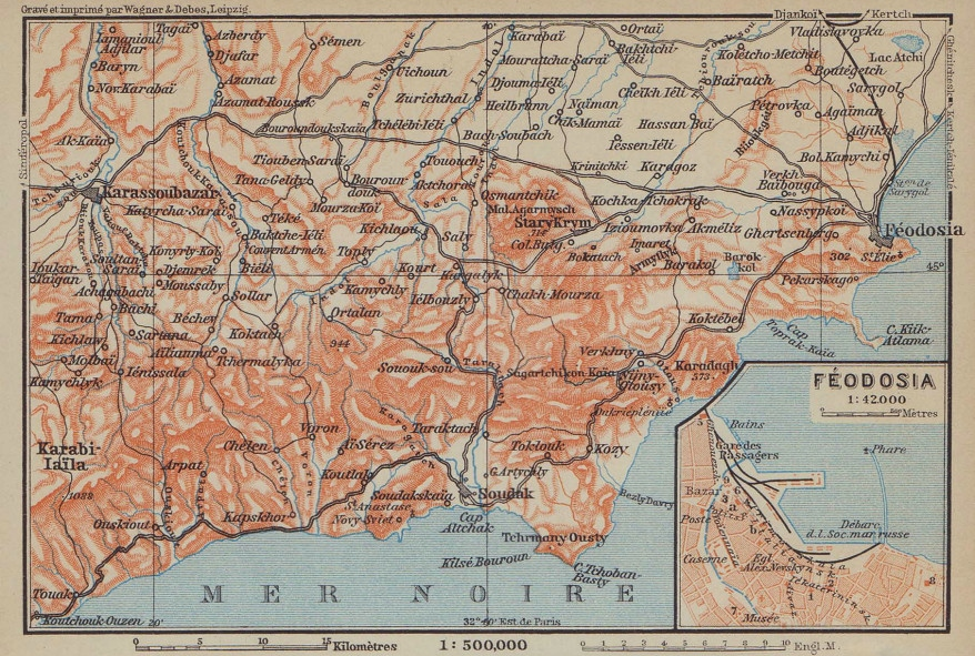 Feodosia town/city plan & environs. Ukraine. BAEDEKER 1914 old antique map