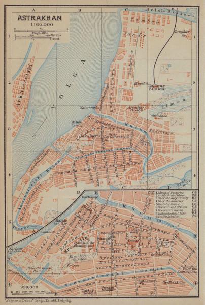 Astrakhan town/city plan. Russia. Asstrachan. BAEDEKER 1914 old antique map