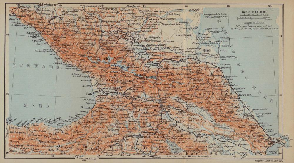 Caucasus. Armenia, Georgia, Azerbaijan & Russian South. BAEDEKER 1914 old map