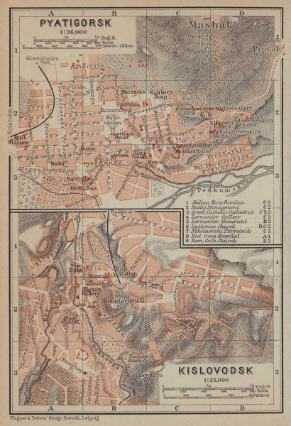 Pyatigorsk / Kislovodsk town/city plan. Russia. Pjatigorsk. BAEDEKER 1914 map