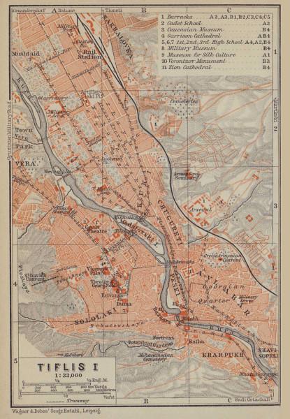 Tbilisi (Tiflis) I town/city plan. Georgia. BAEDEKER 1914 old antique map