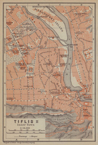 Tbilisi (Tiflis) II town/city centre plan. Georgia. BAEDEKER 1914 old map