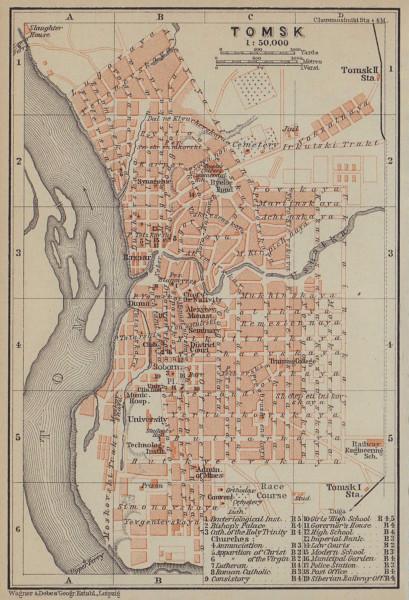 Tomsk town/city plan. Russia. BAEDEKER 1914 old antique vintage map chart