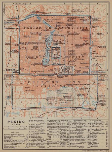 Peking Beijing town/city plan. China. BAEDEKER 1914 old antique map chart