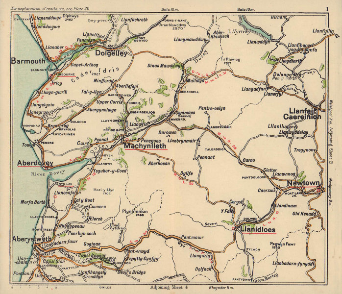 Mid Wales road map. Aberdovey Aberystwyth Barmouth. BACON c1920 old