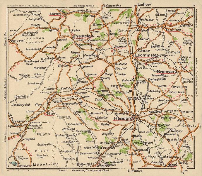 Herefordshire road map. Presteigne Leominster Bromyard. BACON c1920 old