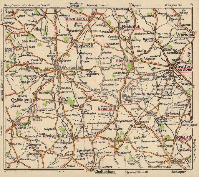 Worcestershire road map. Cheltenham Malvern Stratford Evesham. BACON c1920